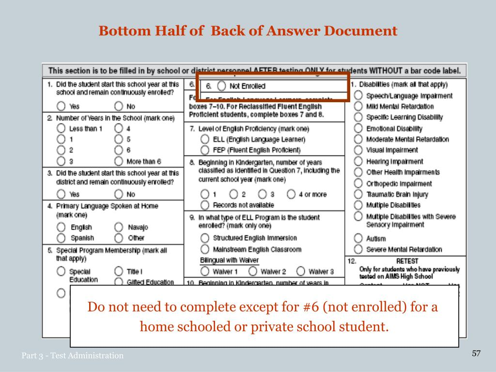 Bottom Half of  Back of Answer Document