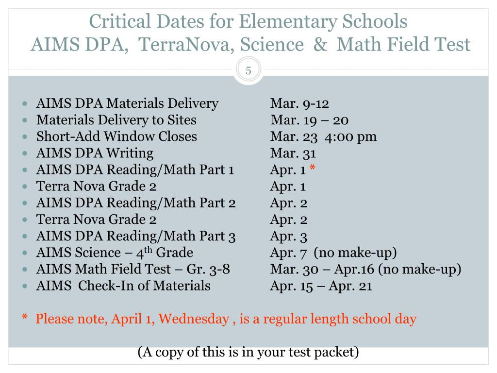 Critical Dates for Elementary Schools