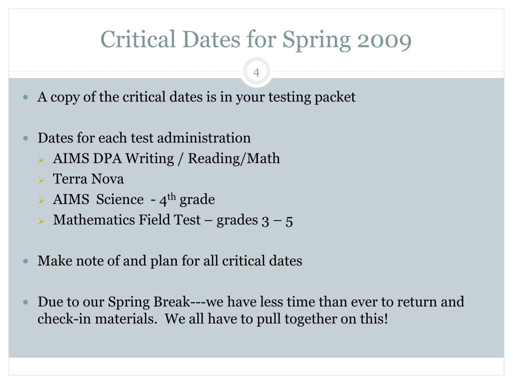 Critical Dates for Spring 2009