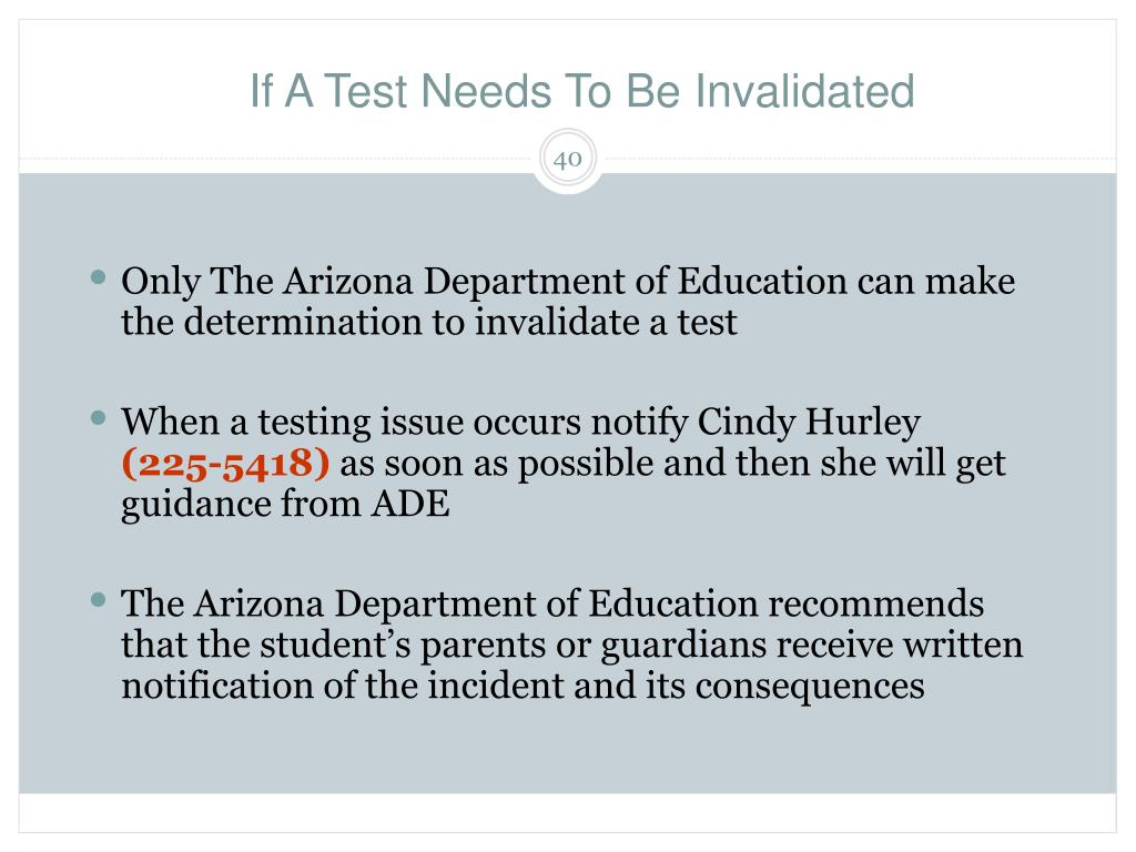 If A Test Needs To Be Invalidated