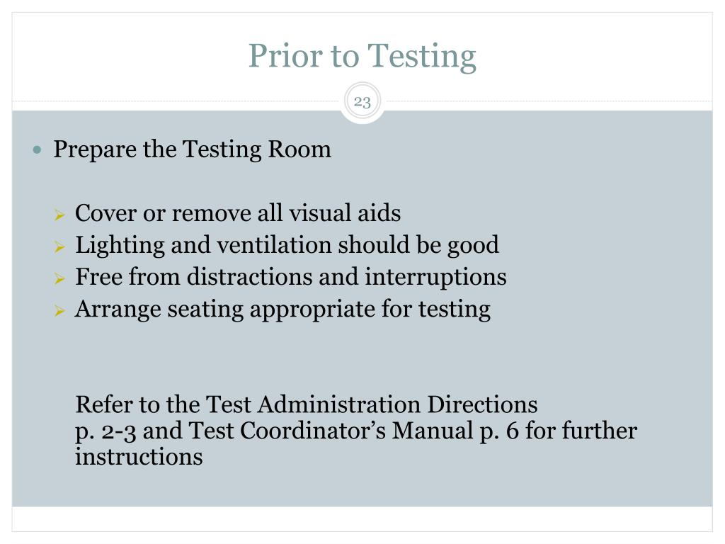 Prior to Testing