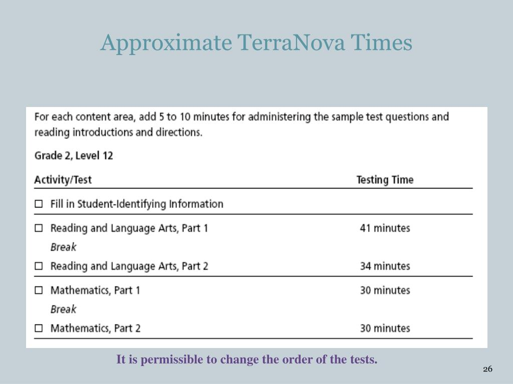 Approximate TerraNova Times