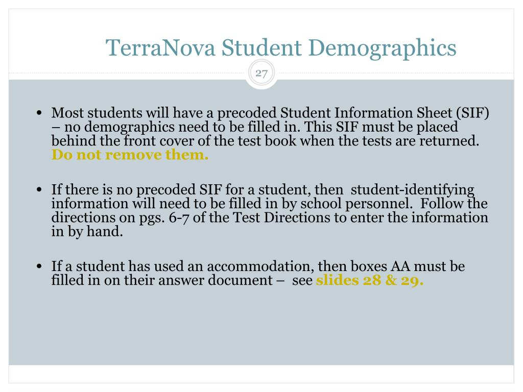 TerraNova Student Demographics