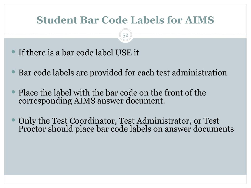 Student Bar Code Labels for AIMS