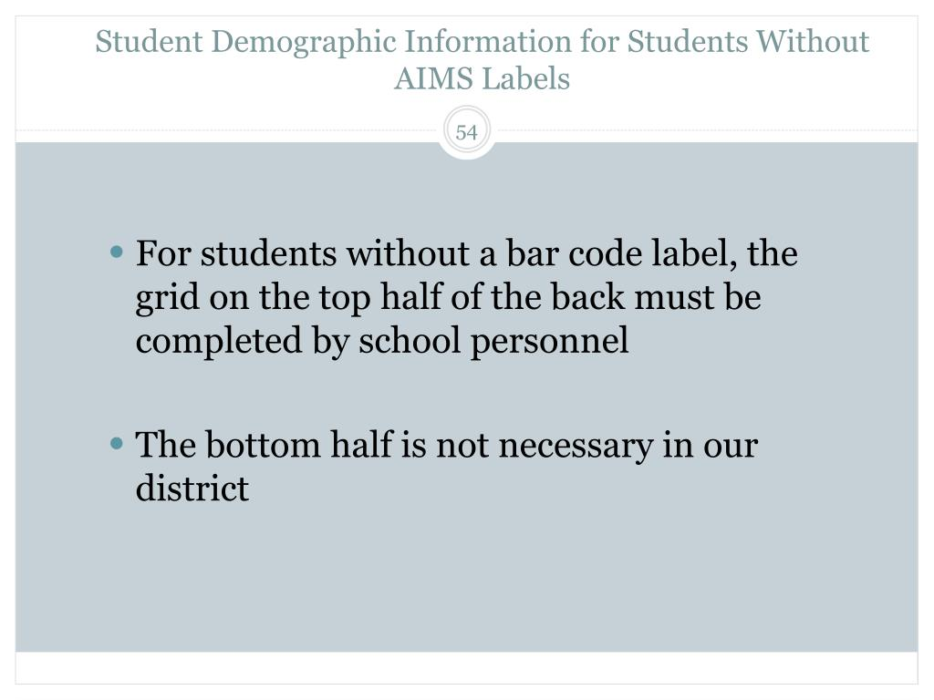 Student Demographic Information for Students Without AIMS Labels