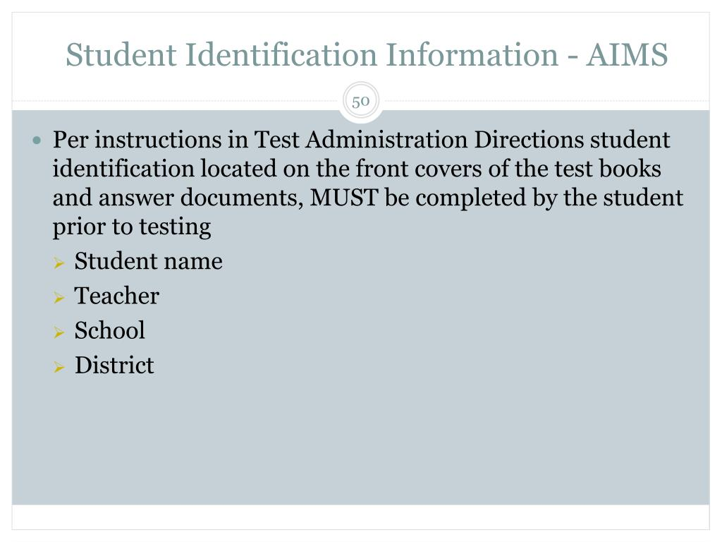 Student Identification Information - AIMS