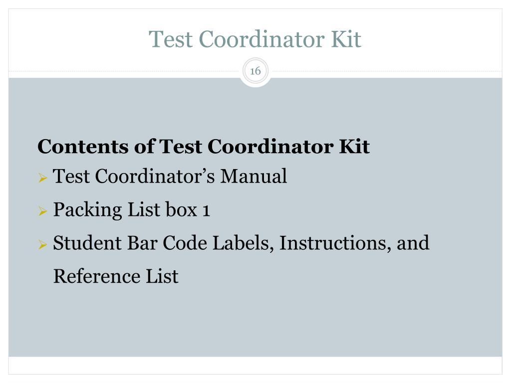 Test Coordinator Kit