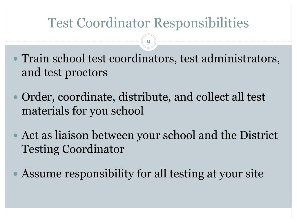 Test Coordinator Responsibilities