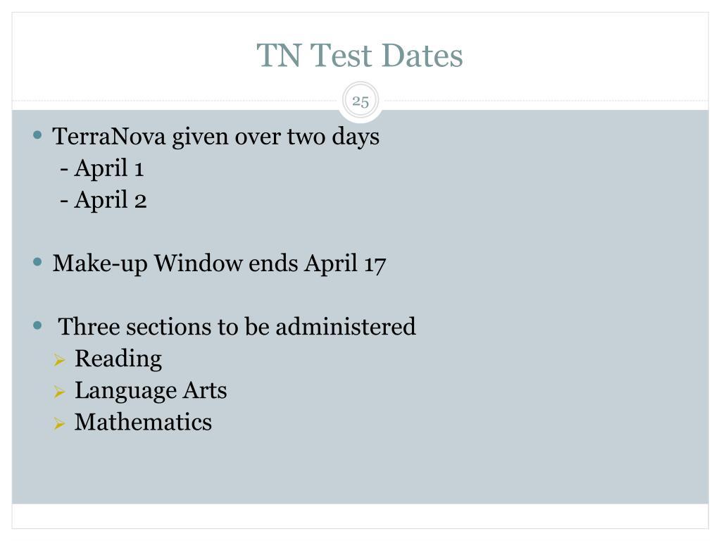 TN Test Dates