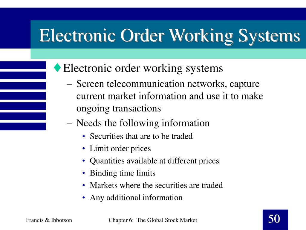 Electronic Order Working Systems