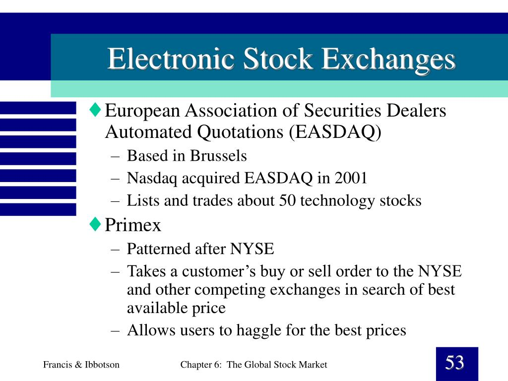 Electronic Stock Exchanges