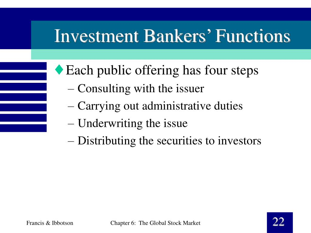 Investment Bankers' Functions