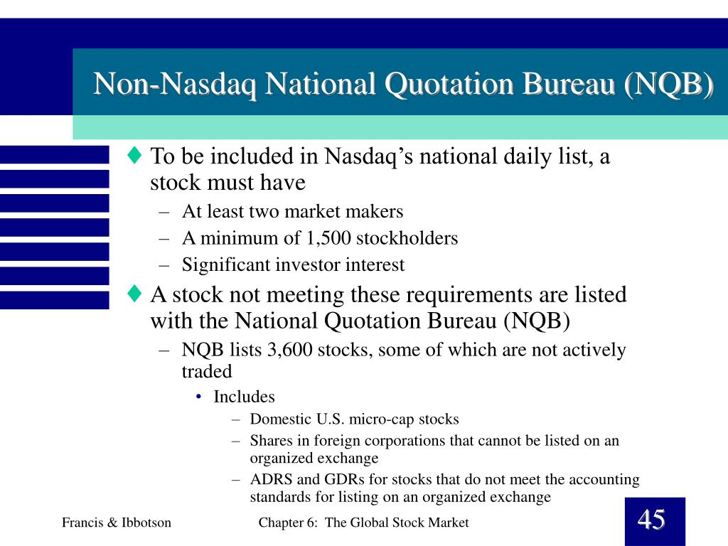 Non-Nasdaq National Quotation Bureau (NQB)