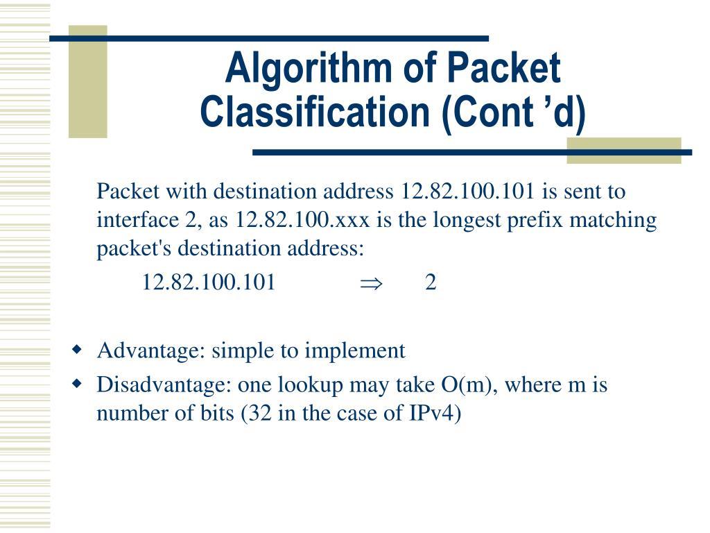 Algorithm of Packet Classification (Cont'd)