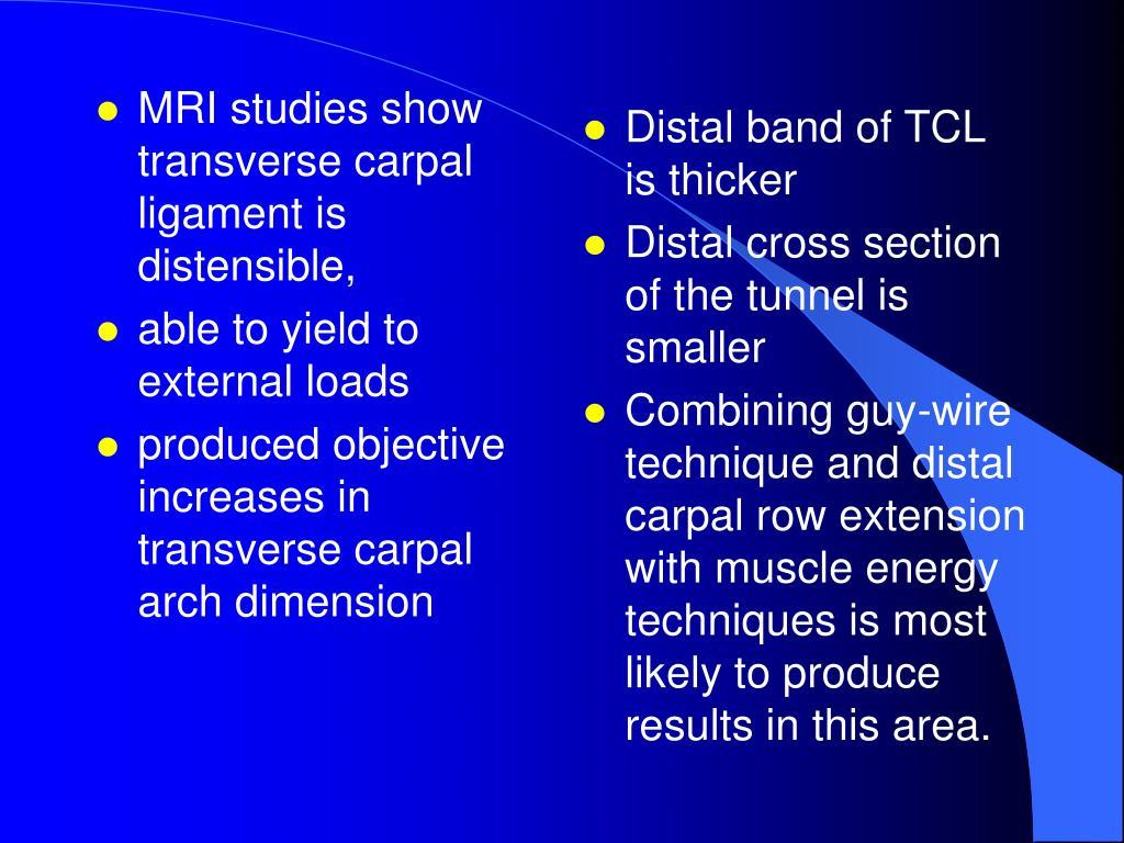 MRI studies show transverse carpal ligament is distensible,
