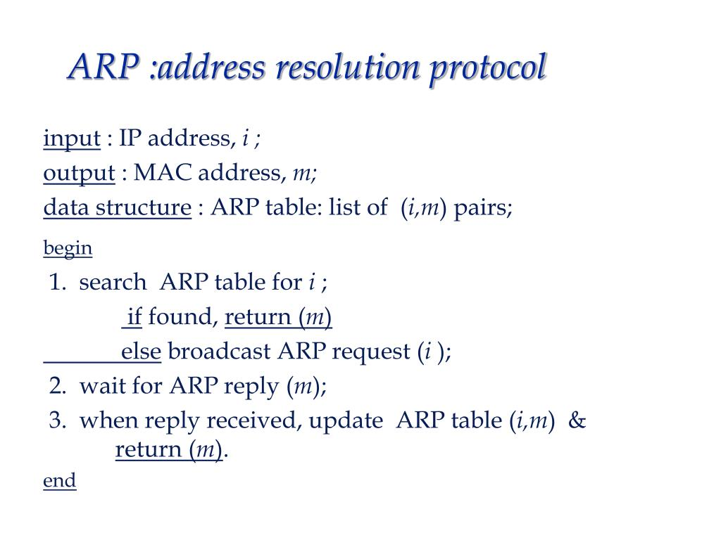ARP :address resolution protocol