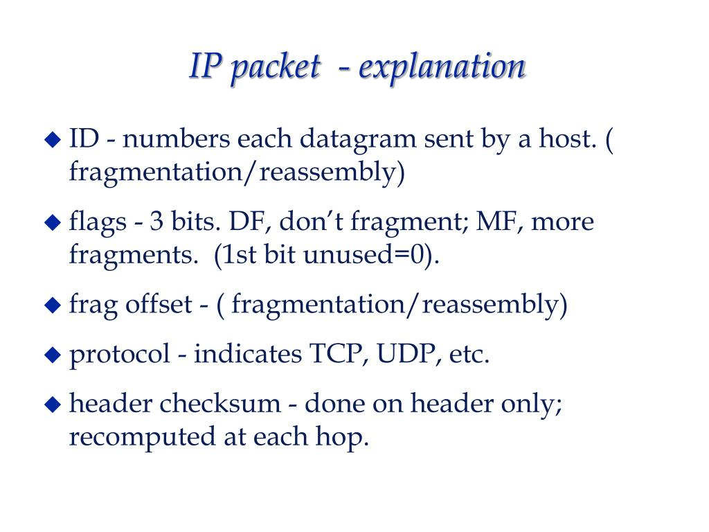IP packet  - explanation