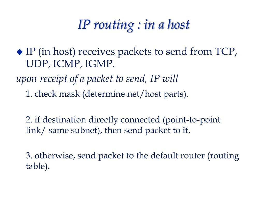 IP routing : in a host