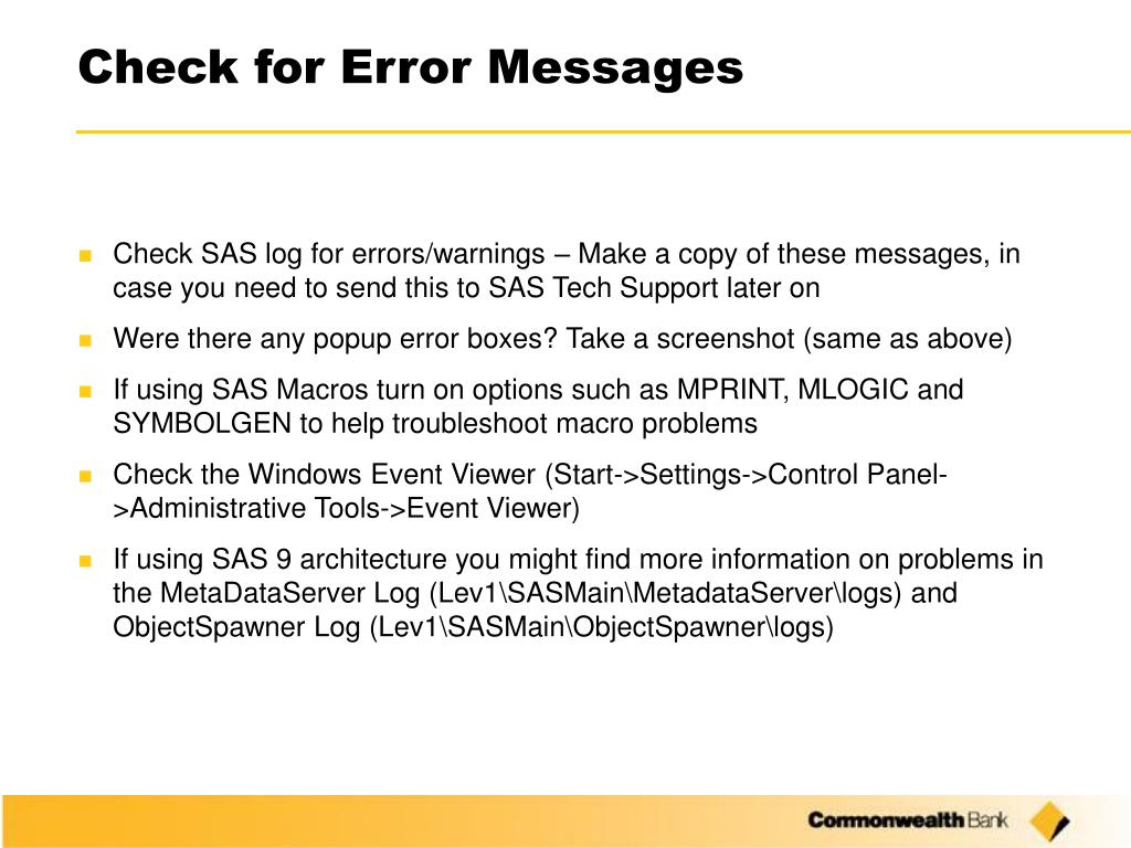 Check for Error Messages