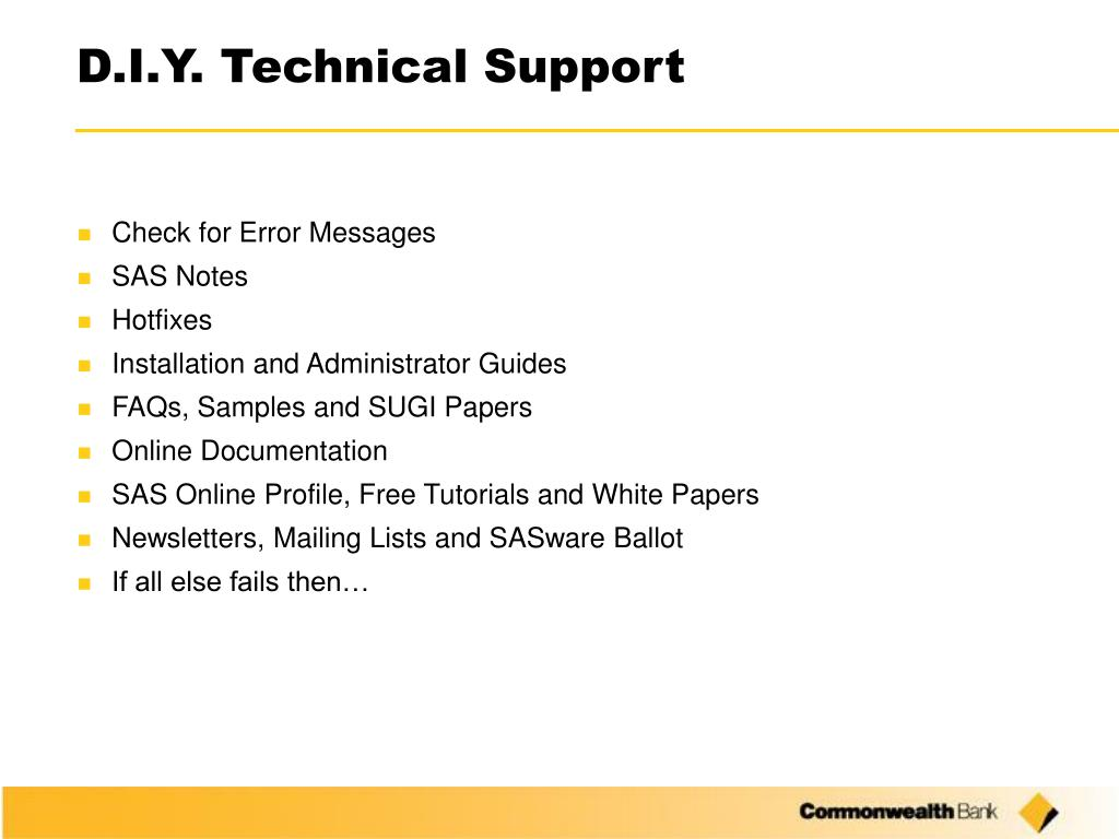 D.I.Y. Technical Support