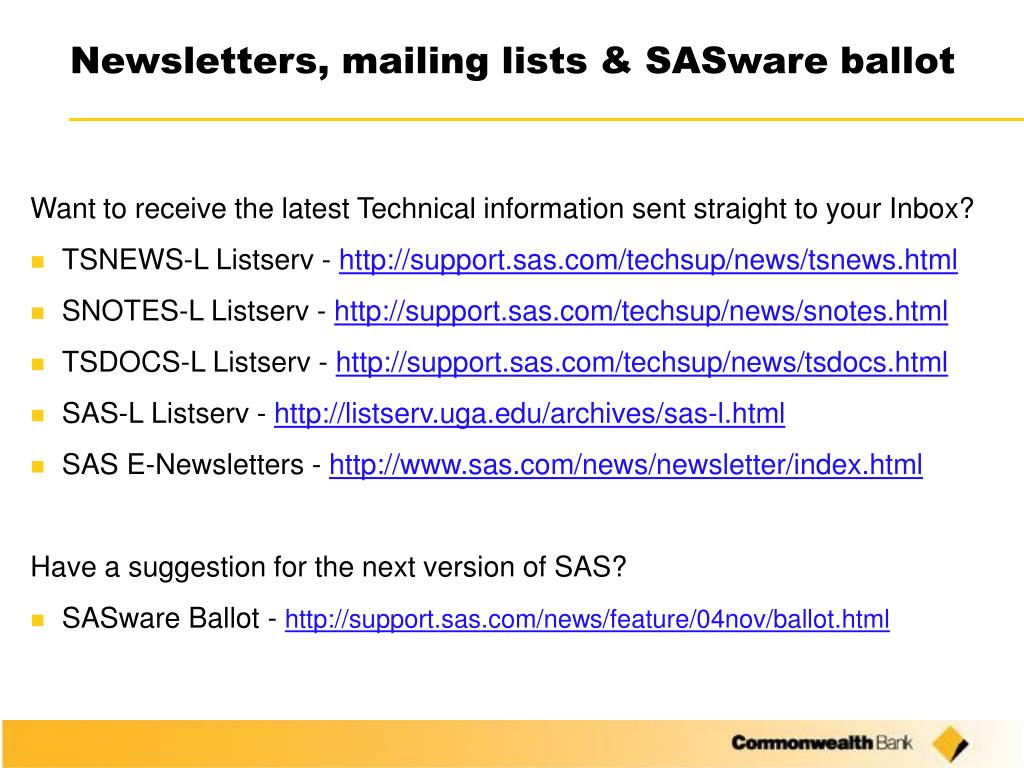 Newsletters, mailing lists & SASware ballot