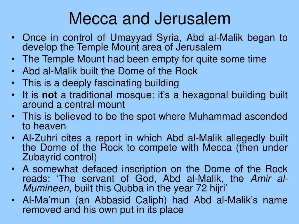 Mecca and Jerusalem
