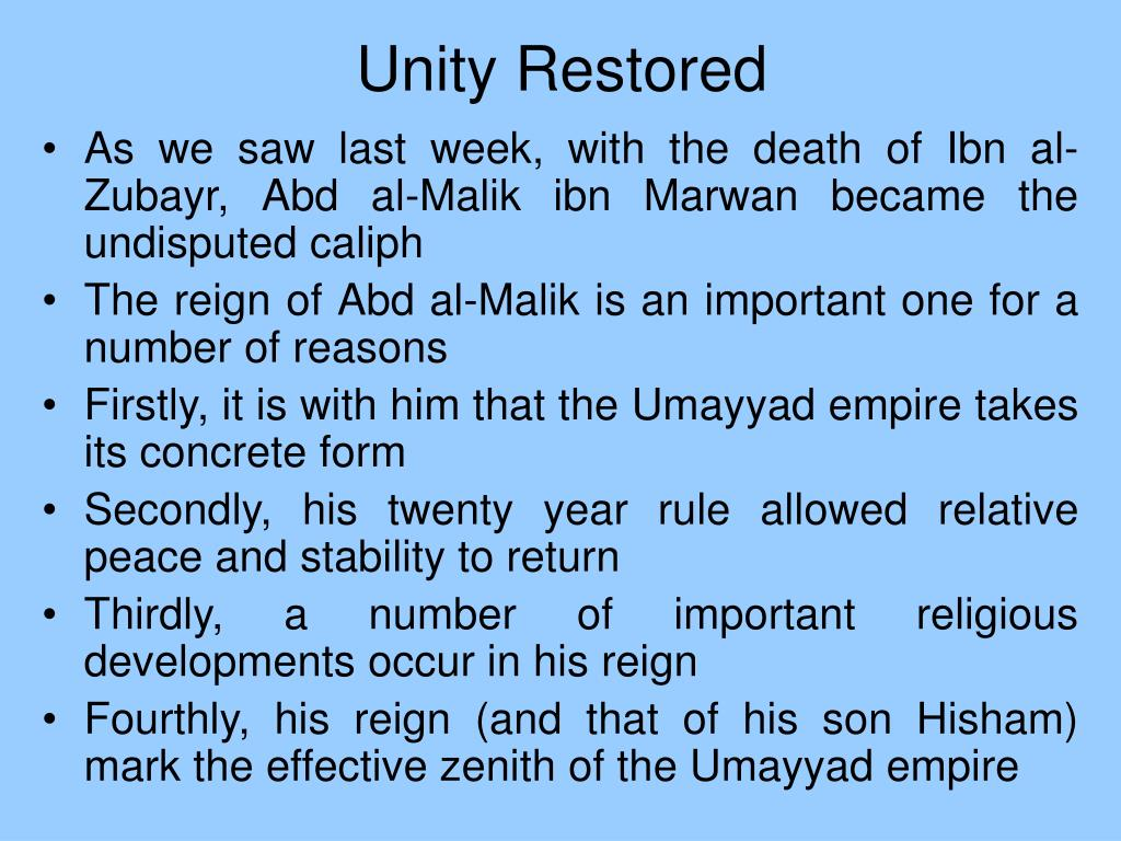 Unity Restored
