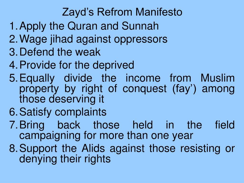 Zayd's Refrom Manifesto