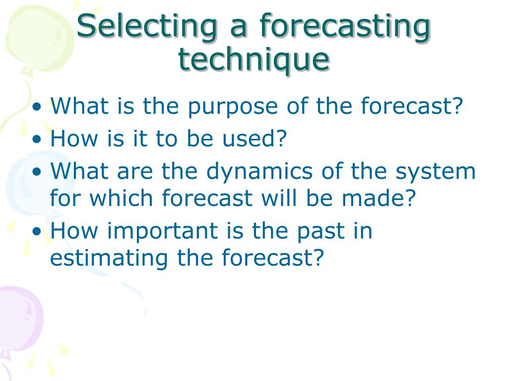 Selecting a forecasting technique