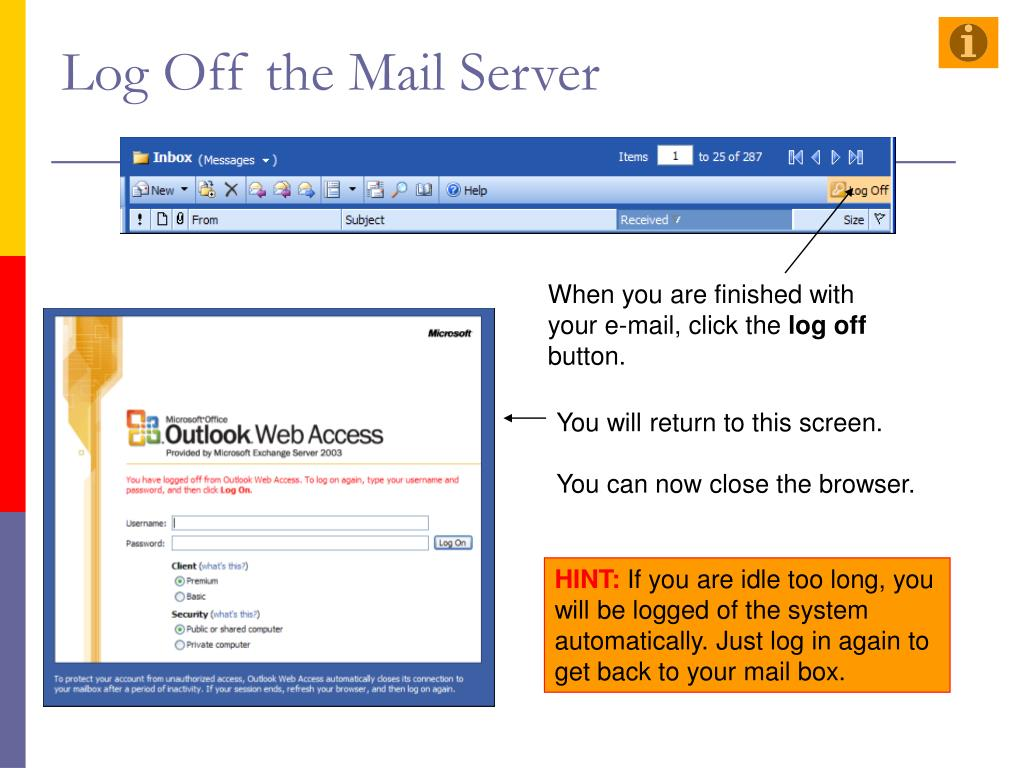 Log Off the Mail Server