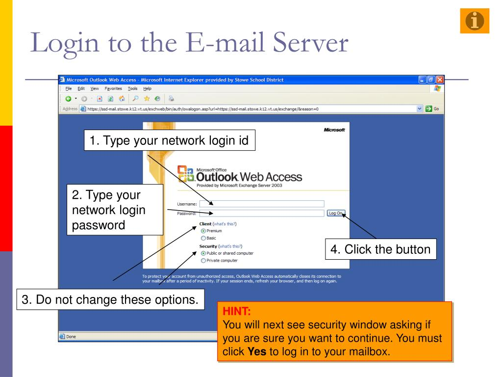 Login to the E-mail Server