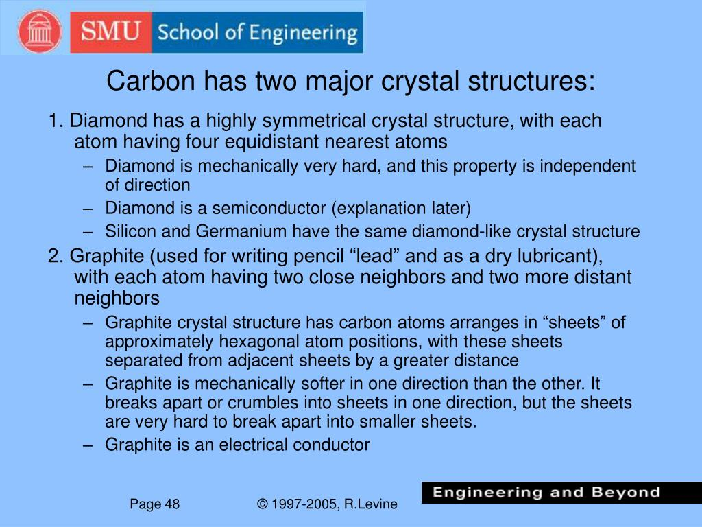 Carbon has two major crystal structures: