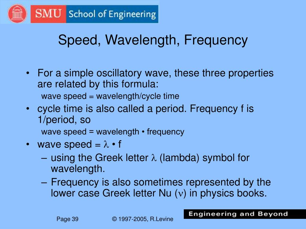 Speed, Wavelength, Frequency