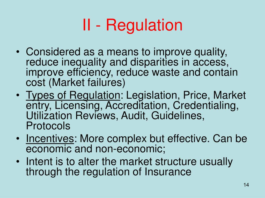 II - Regulation