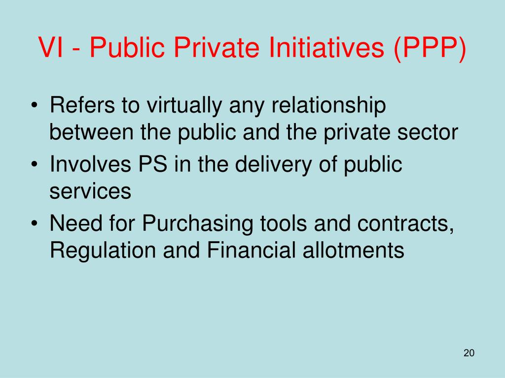 VI - Public Private Initiatives (PPP)
