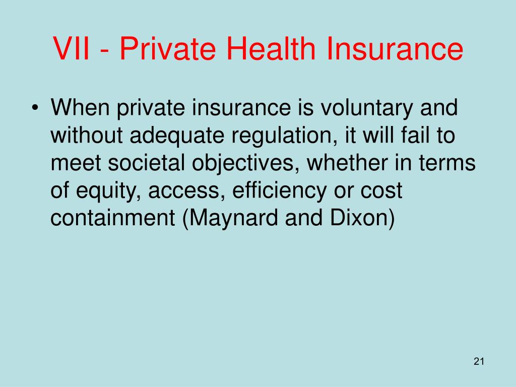 VII - Private Health Insurance