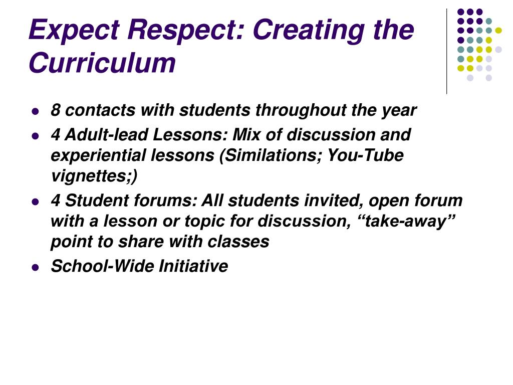Expect Respect: Creating the Curriculum
