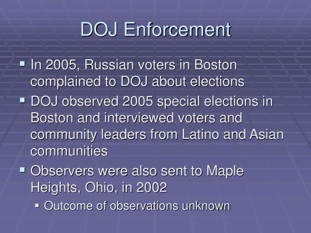 DOJ Enforcement