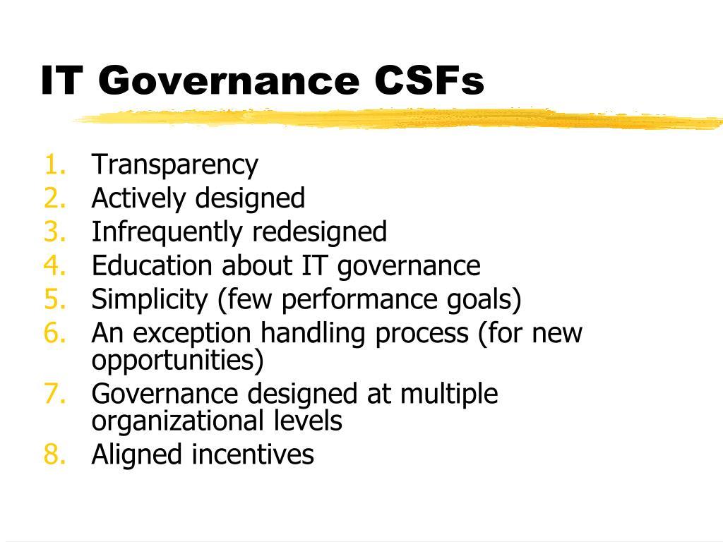 IT Governance CSFs