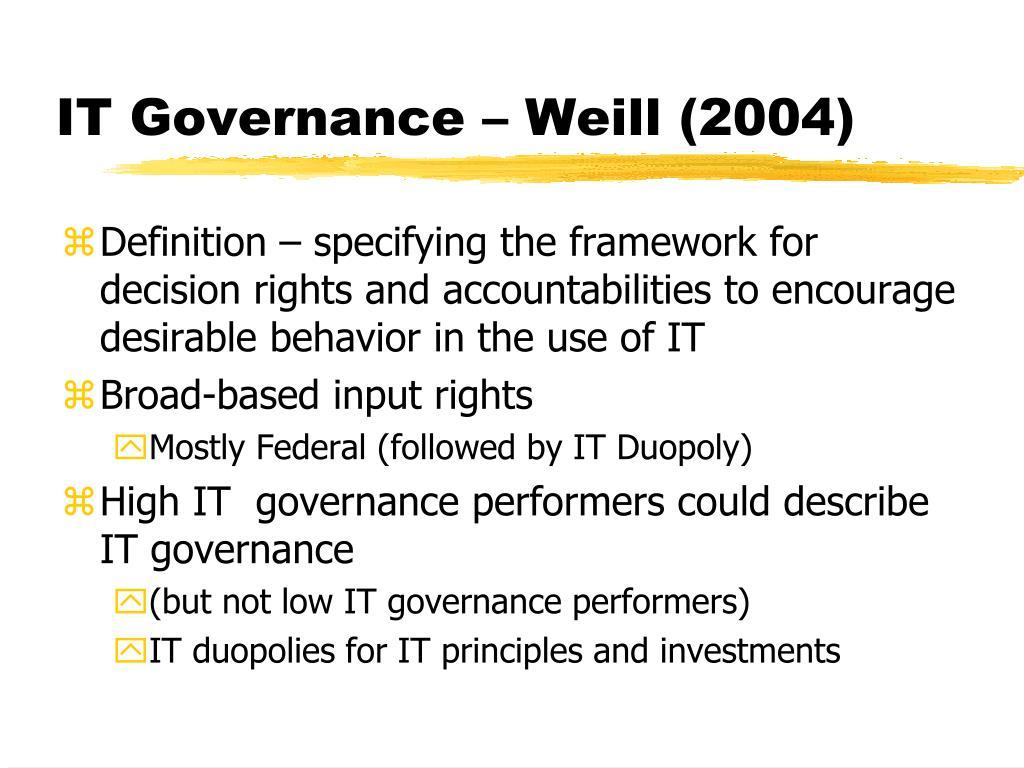 IT Governance – Weill (2004)