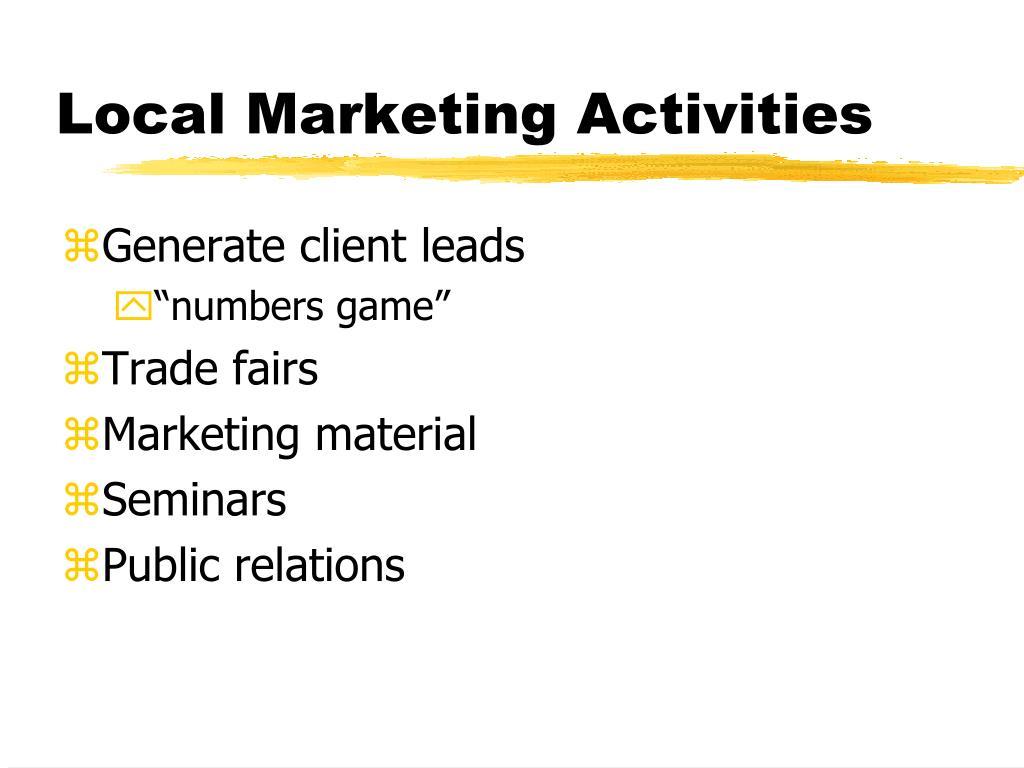 Local Marketing Activities
