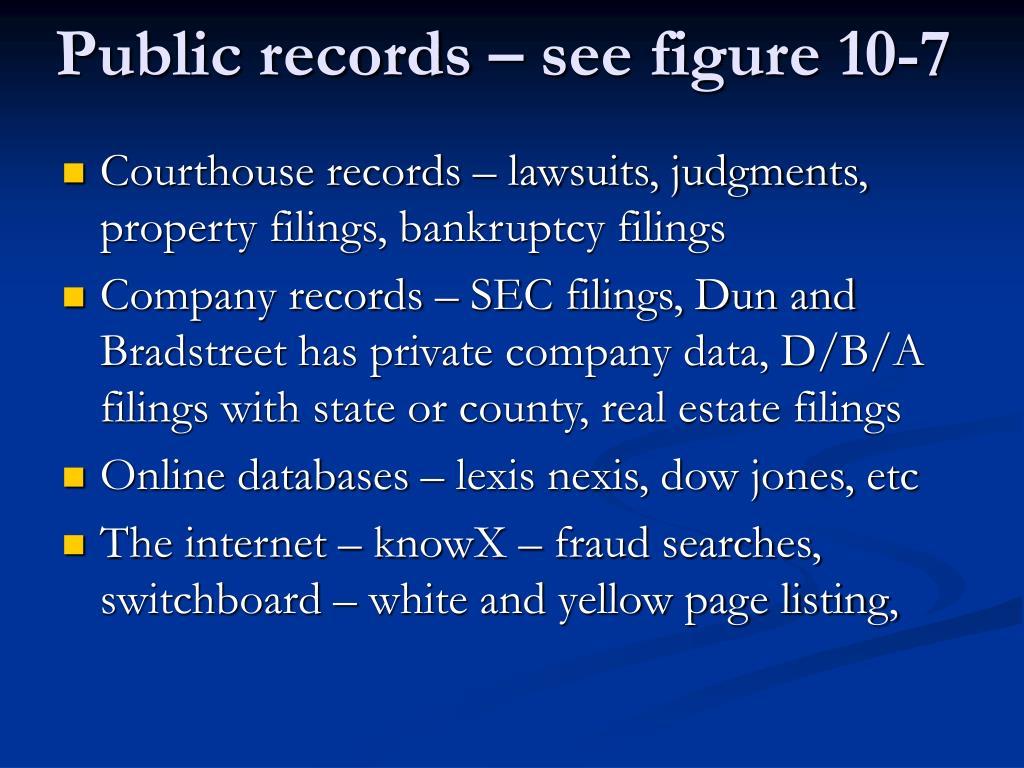 Public records – see figure 10-7