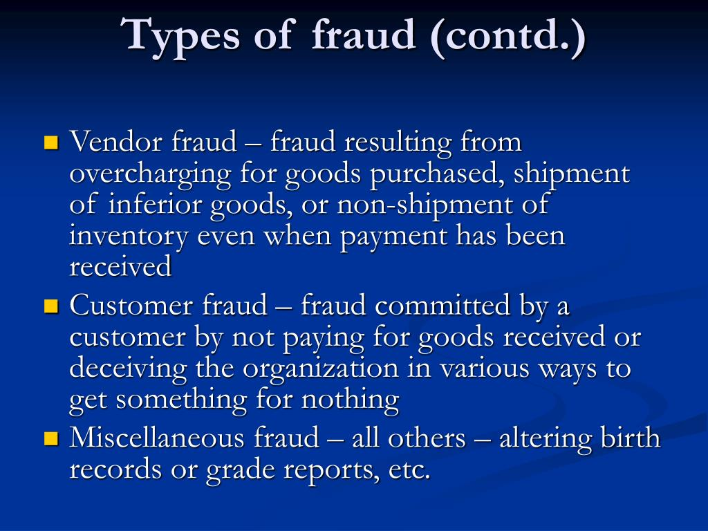 Types of fraud (contd.)