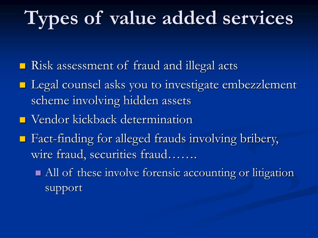 Types of value added services