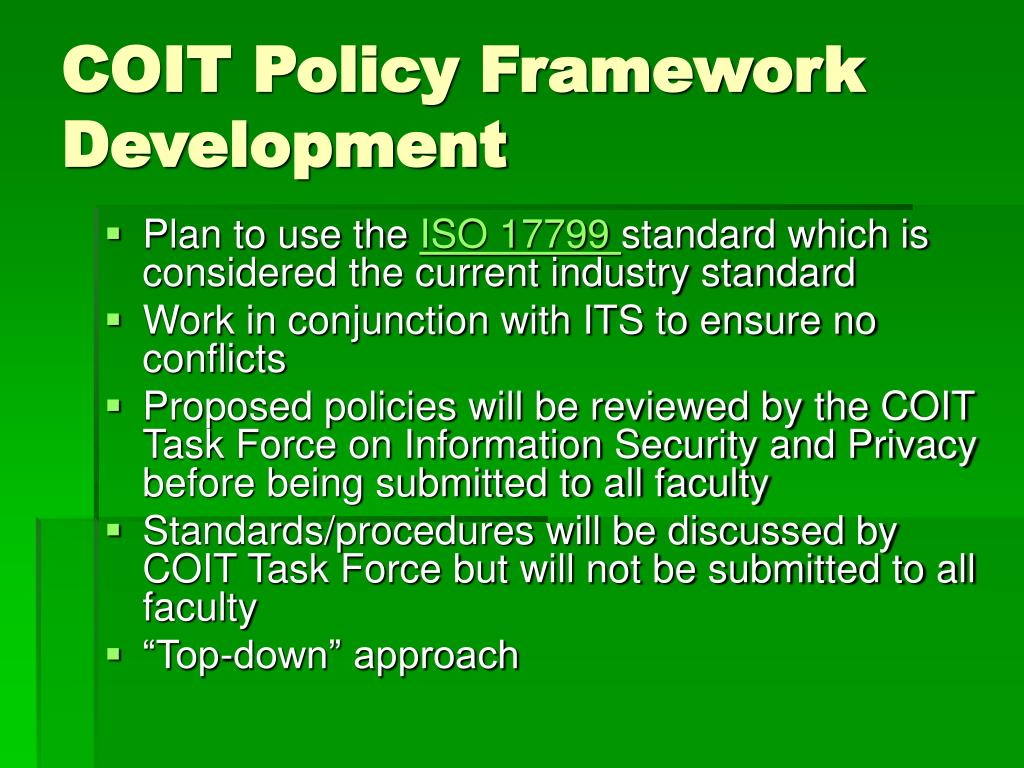 COIT Policy Framework Development