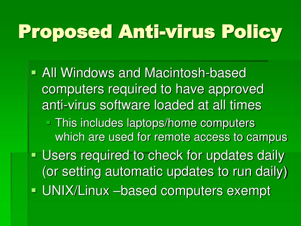 Proposed Anti-virus Policy