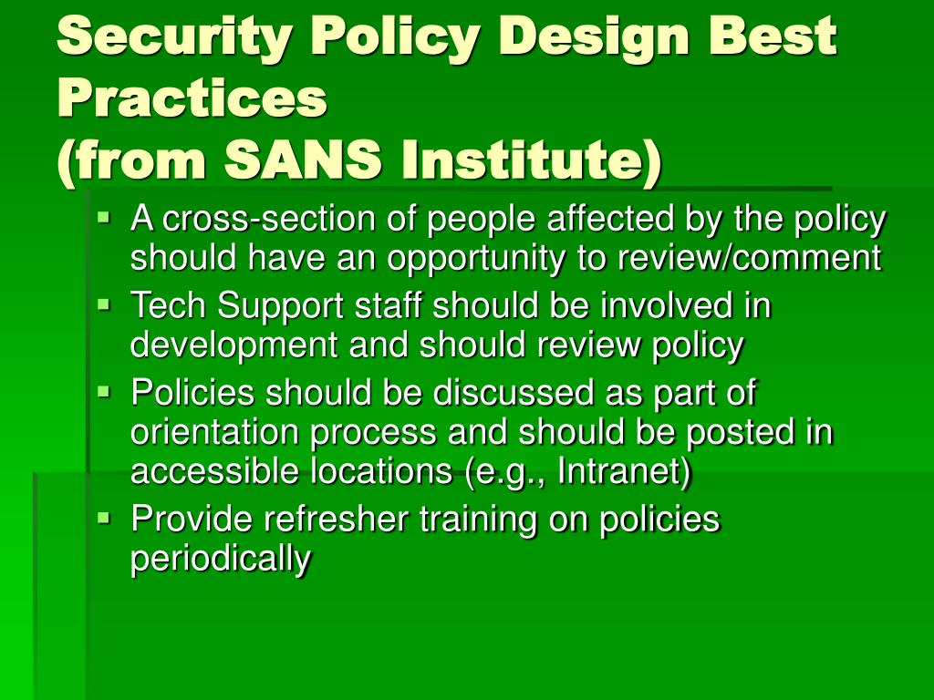 Security Policy Design Best Practices