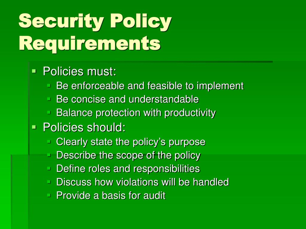 Security Policy Requirements