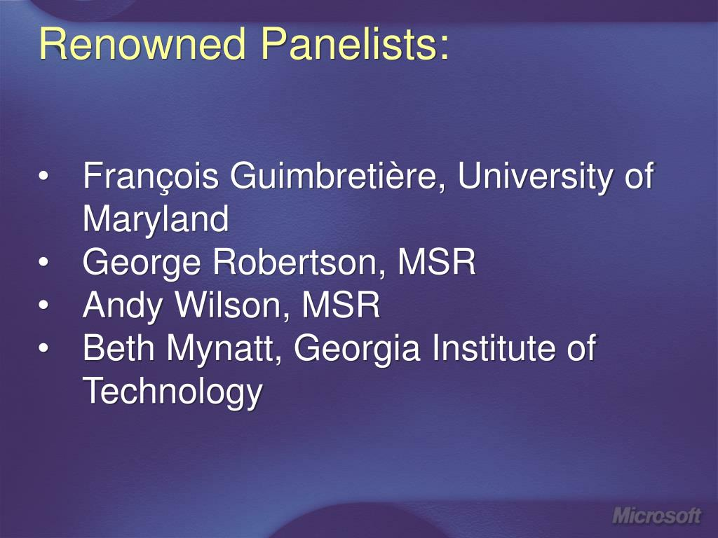 Renowned Panelists:
