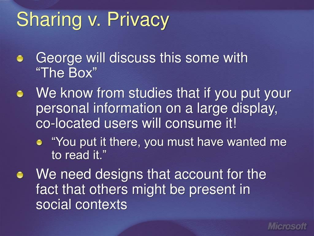 Sharing v. Privacy